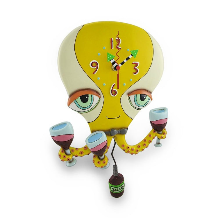 Happy Hour Octopus Clock with Swinging Wine Bottle Pendulum