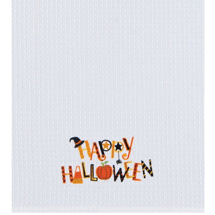 "White towel with text ""Happy Halloween"" Lettering is mixed shaped in black, orange & gold colors."
