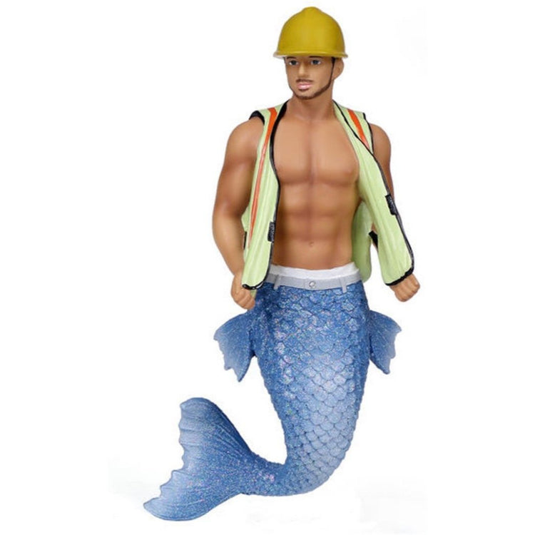 Merman figurine ornament.  Dressed as a construction worker in hard hat and vest.