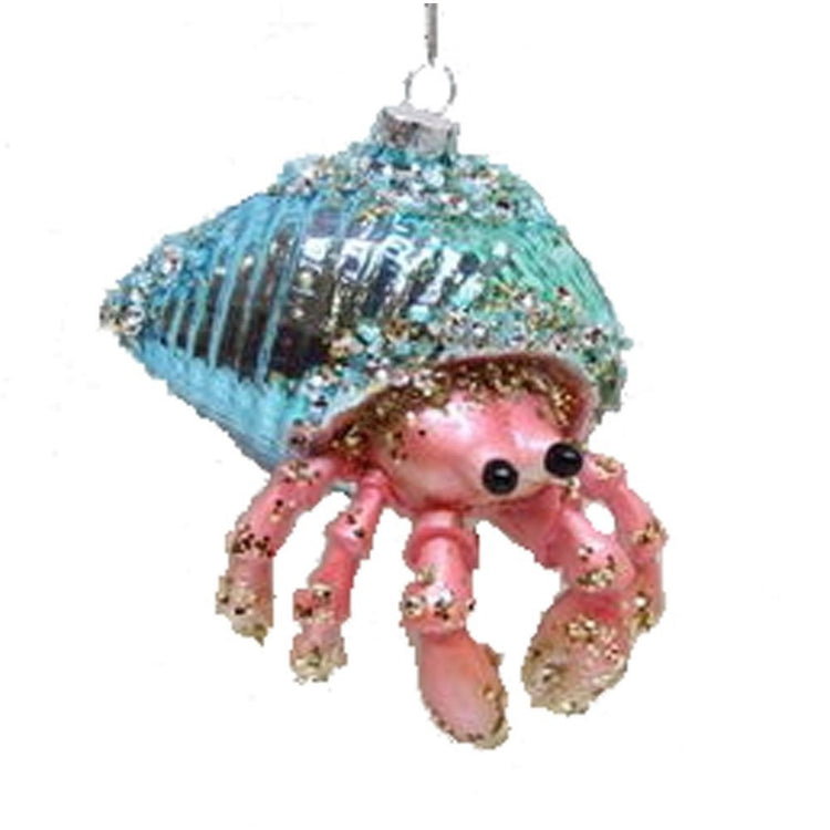 Hermit crab shaped figurine ornament.  Pink crab in teal blue shell.  Lots of glitter and bead embellishments.