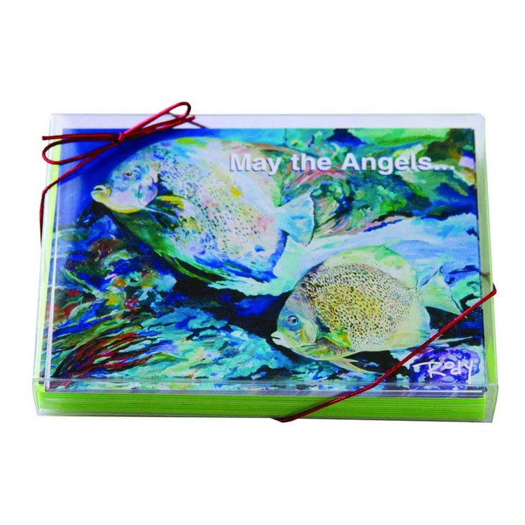 "Boxed Christmas cards with 2 swimming angel fish in shades of blue and green.  Text ""May the Angels...""."