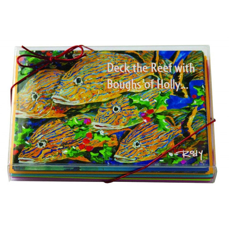 "Clear box of cards with text ""Deck the Reef with Boughs of Holly"".  Colorful school of fish."