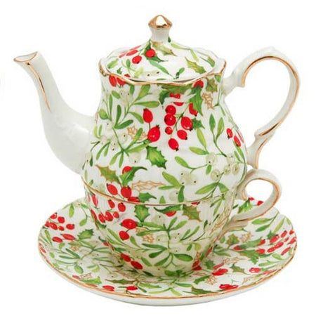 Christmas Tea for One, Holly Berry Design