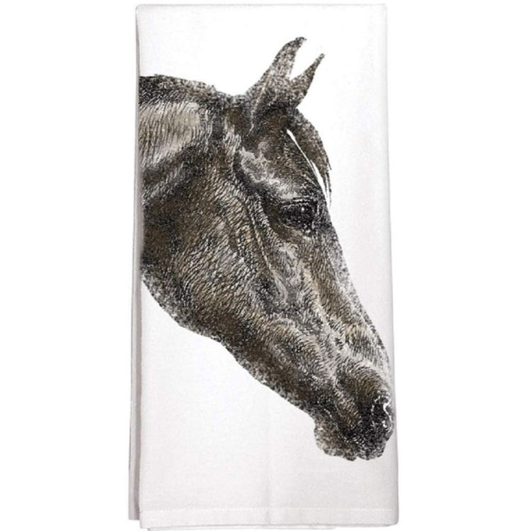 White flour sack dishtowel with a brown horse facing right.