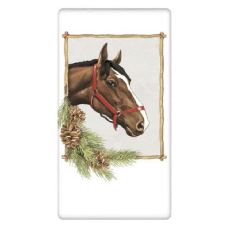 Horse and Pine Flour Sack Towel