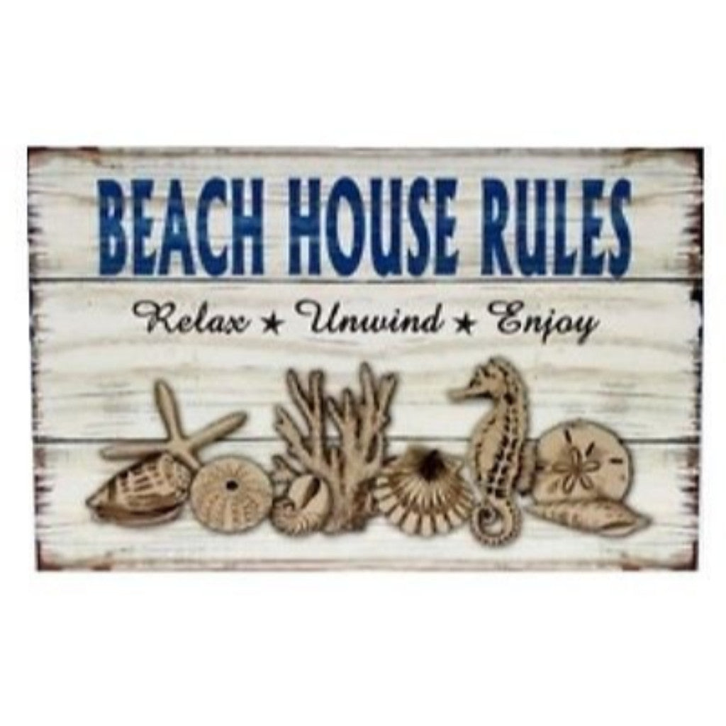 Beach House Rules Sign Relax Unwind Enjoy