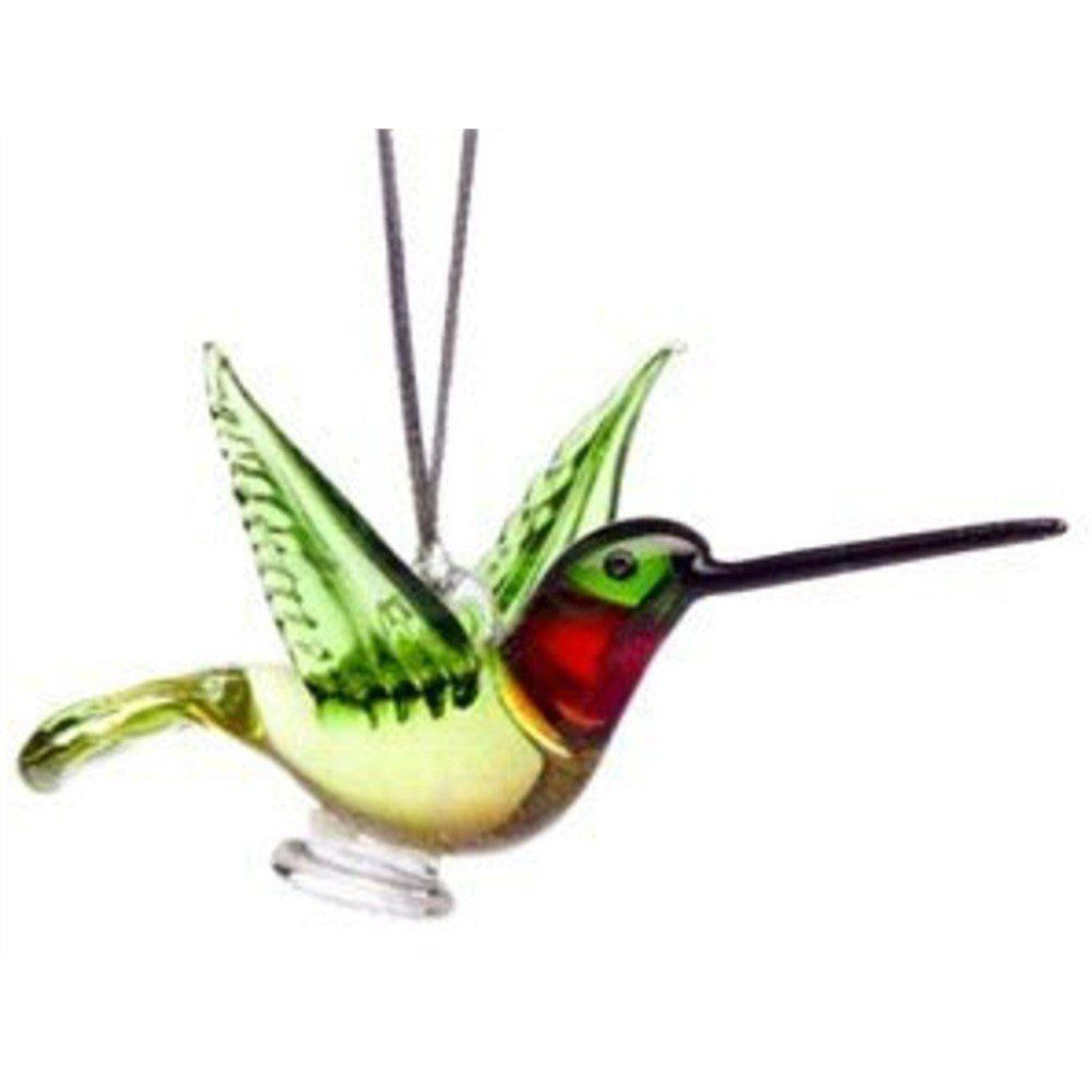 Glass Ruby Throated Hummingbird Ornament