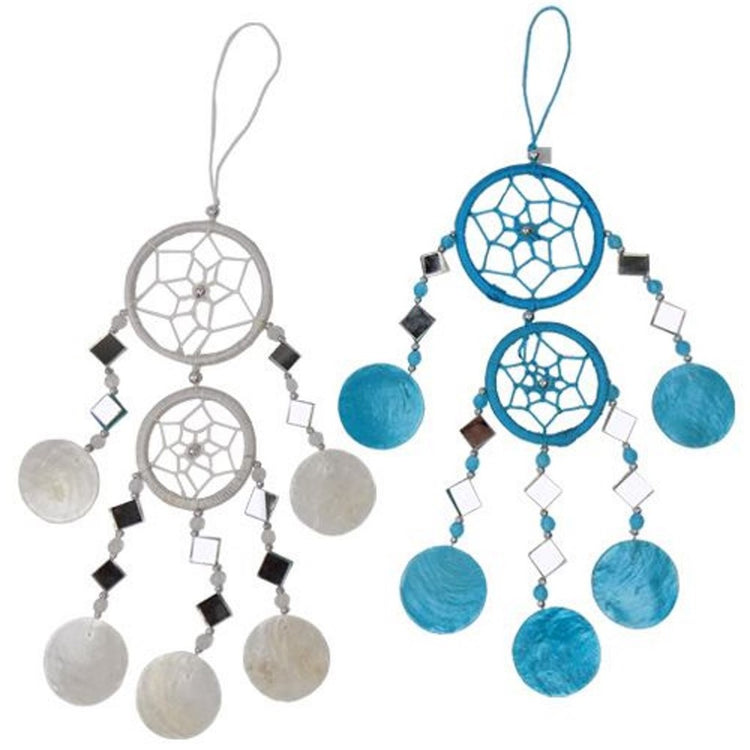 2 dream catcher ornaments. Both are made with beads, capiz shells, and mirrors. One is white and the other is blue.