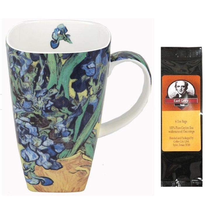 Coffee cup imprinted with Van Gogh's Irises.  Earl Grey tea package.