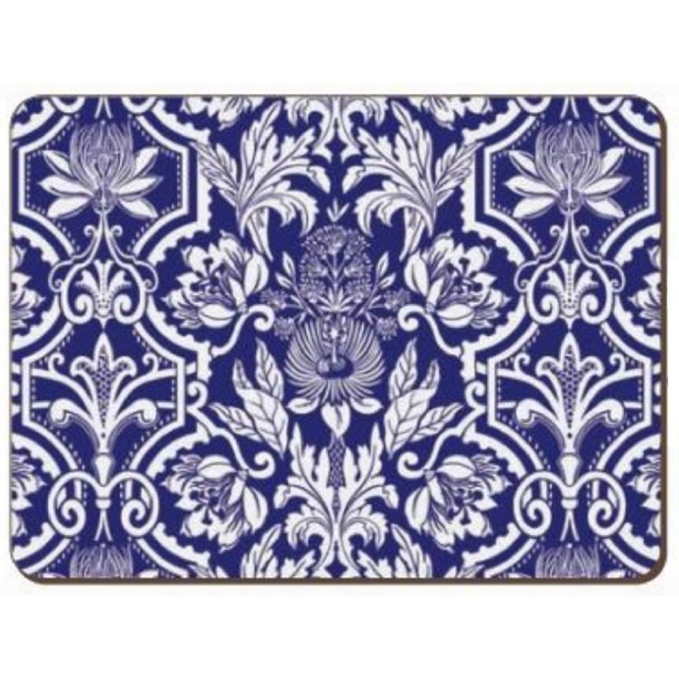 Placemat with blue background and white ornate floral pattern all over.