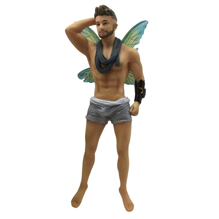 Fairy figurine shaped hanging ornament.  Wearing silver shorts, green wings, grey scarf around his neck and sporting an arm band.