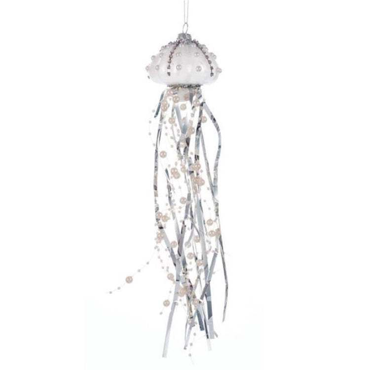 White glass jellyfish ornament body with silver legs & bead strings. Beads & Silver accents on jellyfish body. Hanger on top