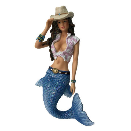 Mermaid figurine hanging ornament.  Dressed as a cowgirl with western hat and plaid tied up shirt, wearing a belt.