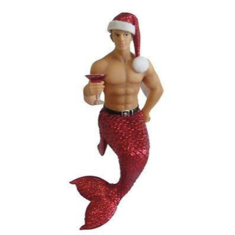 Merman figurine ornament.  Dressed in red tail with Santa hat, holding a cocktail.