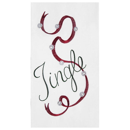 Jingle Embroidered Flour Sack Christmas Dishtowel