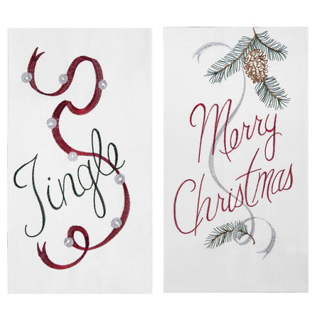 2 Flour Sack Kitchen Dishtowels, Embroidered Christmas Design