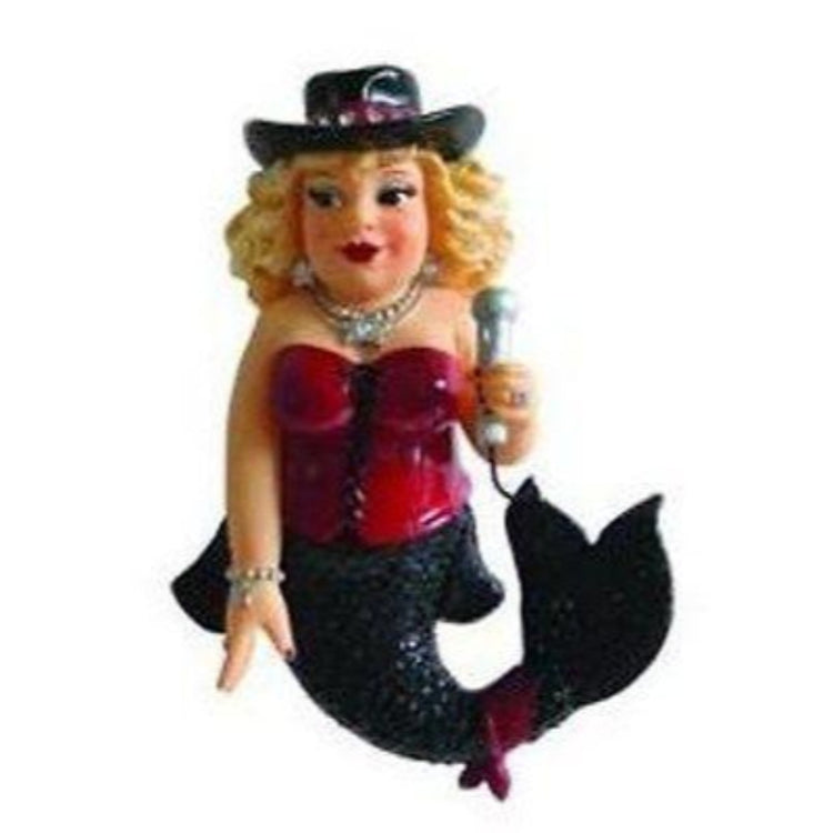Mermaid shaped figurine hanging ornament.  Black tail, red sleeveless top, black cowboy type hat holding a microphone.