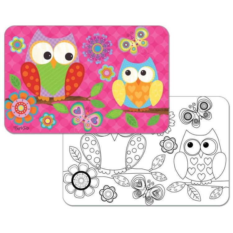 2 placemats. 1 is pink with 2 bright owls, and bright color flowers. 1 is the same but blank so you can color.