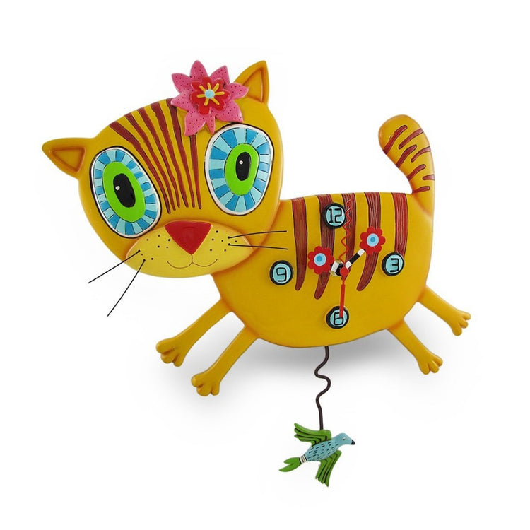 Artistic cat shaped wall clock with bird pendulum.  Shades of yellow with brown stripes and big blue and green eyes.