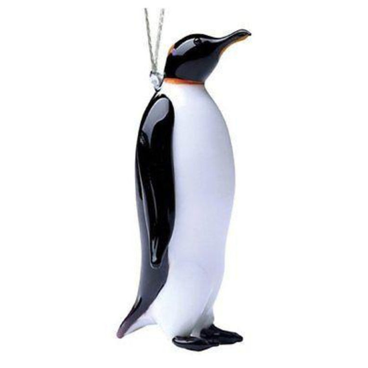 Black and white standing penguin figurine ornament.