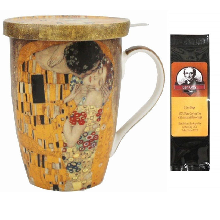Tea cup and lid printed with Klimt the Kiss all around.  Earl Grey tea package.