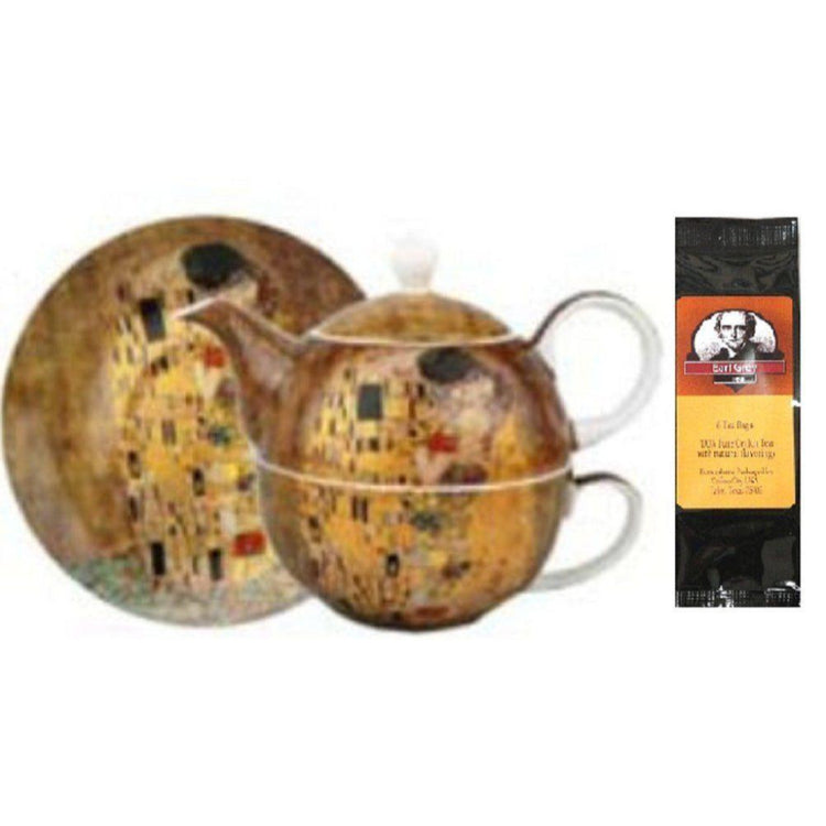 Tea for one and saucer printed with Klimt the Kiss all around.  Earl Grey tea package.