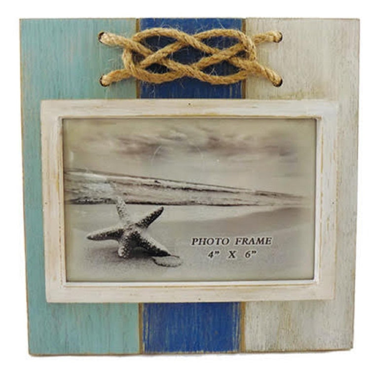 Wood Aqua, Blue and White Rope Knot Photo Frame, Holds 4 Inch x 6 Inch Picture