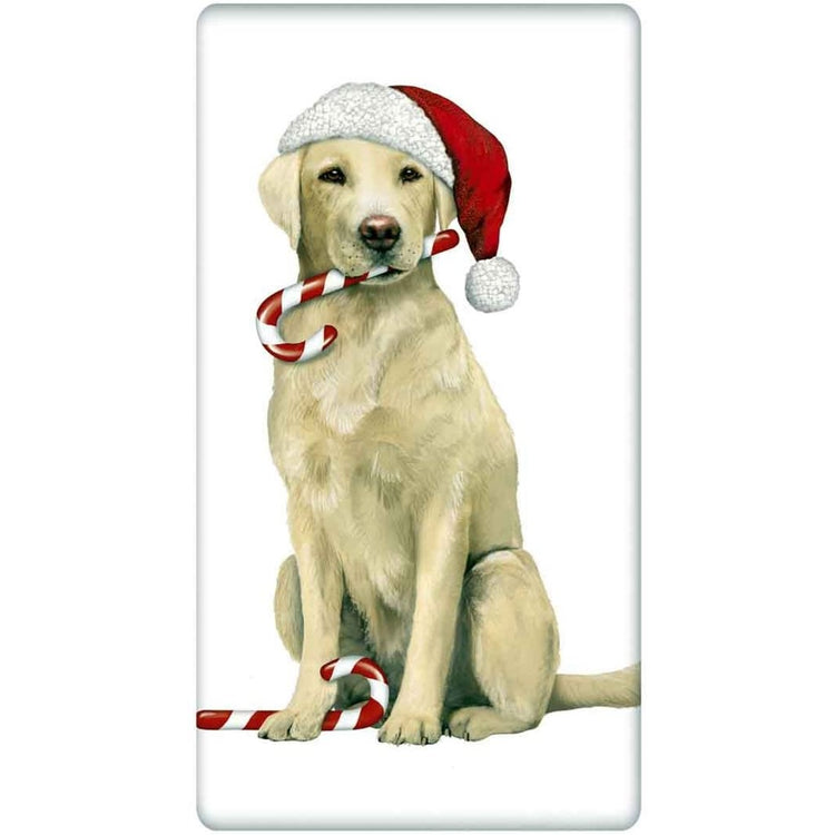 White kitchen towel with a yellow lab holding a candy cane in it's mouth and wearing a santa hat.