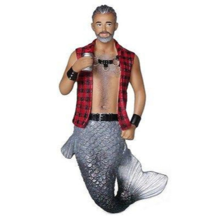 Mermaid figurine ornament.   Red and black checked vest with leather straps on chest.