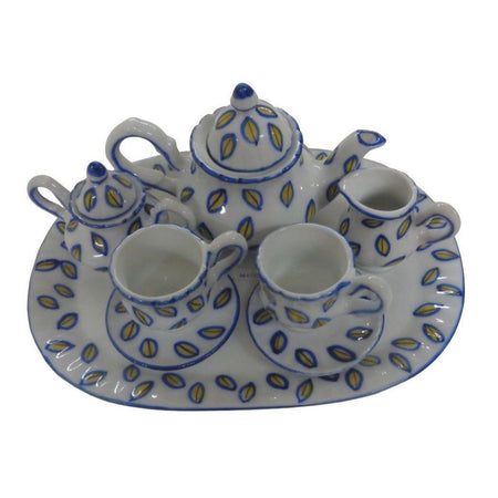 Children's 10 Piece Doll Size Tea Set for 2, Blue and Yellow Leaves