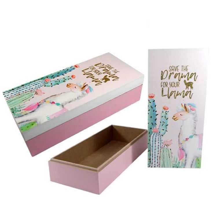 "Rectangle box, pink with white lid decorated with cactus and llama.  ""Save the Drama for your Llama""."