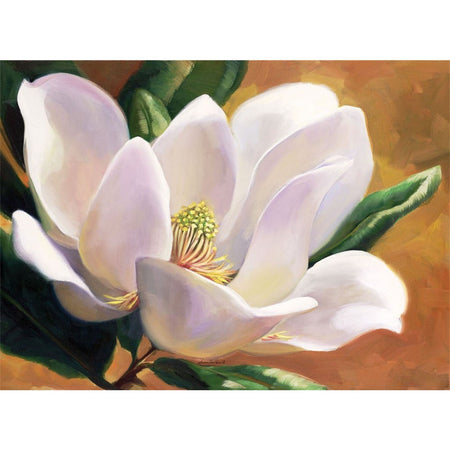 Hardboard placemat with brown toned background and one large white magnolia blossom.