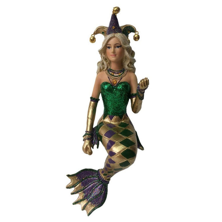 Mermaid figurine hanging ornament.   Wearing mardi gra inspired outfit with checked tail, green shit and crown.