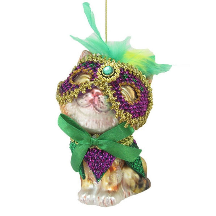 December Diamonds Glass Cat Mardi Gras Theme Ornament  79-81008 4 Inches x 2 Inches