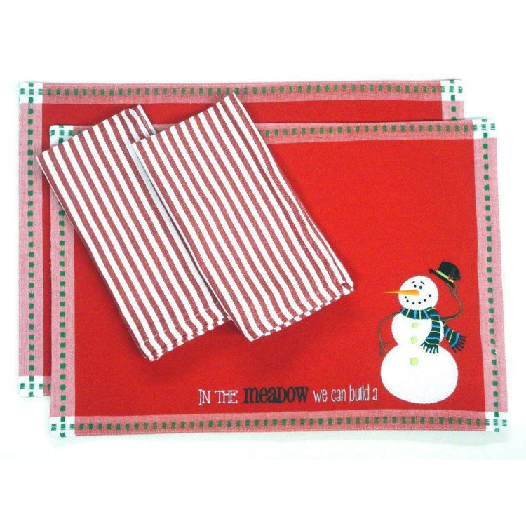 2 red fabric placemats with green checked border. Placemats show a snowman. 2 red & white striped fabric napkins.