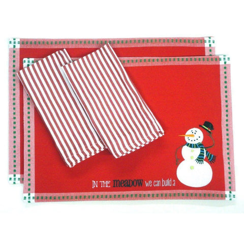 2 Christmas Placemats, in the Meadow You Can Build a Snowman and 2 Napkins
