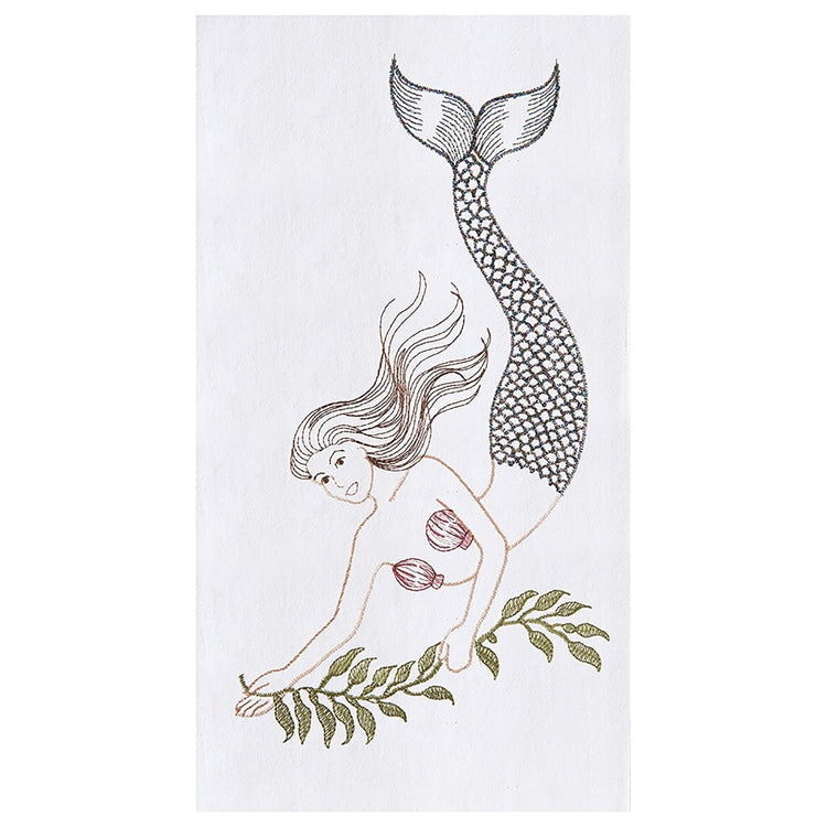 White flour sack kitchen towel with embroidered mermaid swimming downwards holding seaweed.