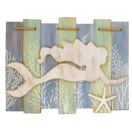 Rectangle slat sign in blue and green with whitewash mermaid swimming and starfish.