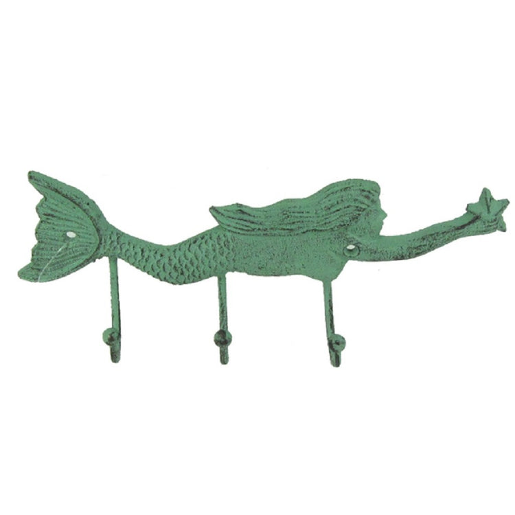 verdigris green swimming mermaid shaped wall hook with 2 hooks.  Mermaid is holding a starfish.