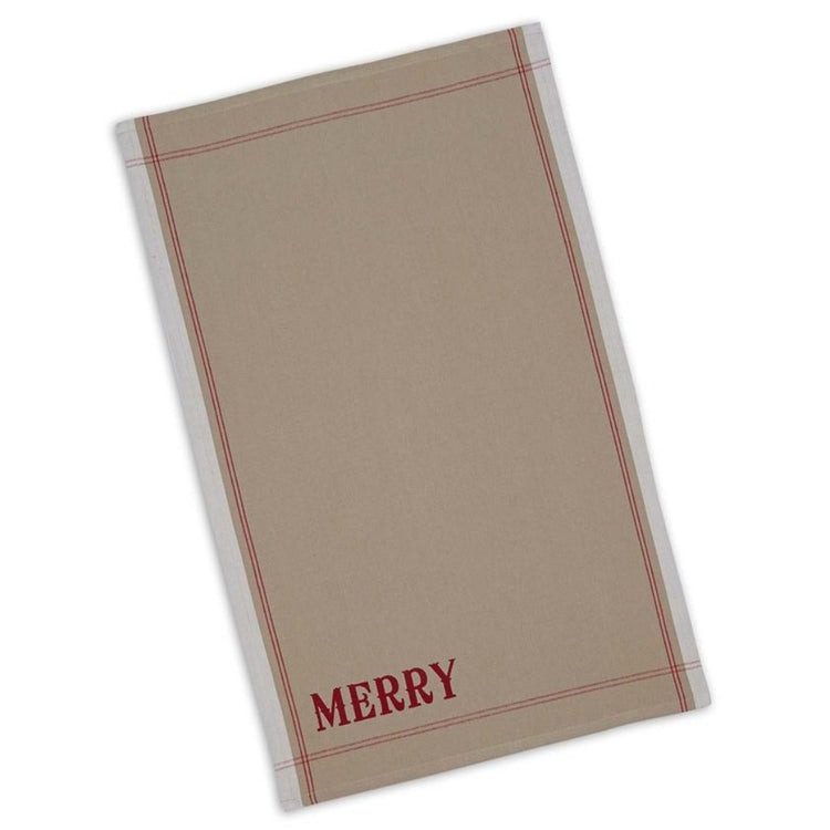 Tan kitchen towel with saying 'merry' in the bottom left corner.