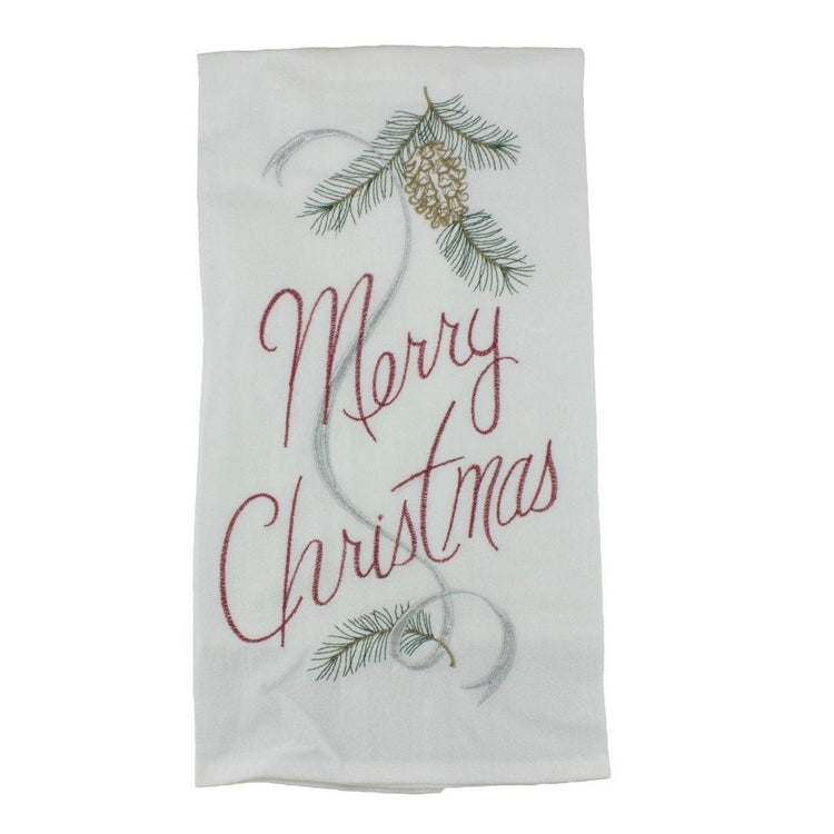 "White flour sack kitchen towel embroidered with pine and ""Merry Christmas""."