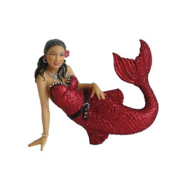 Mermaid shaped figurine hanging ornament.  Lying on her side wearing all red with black belt. Flower in her hair.