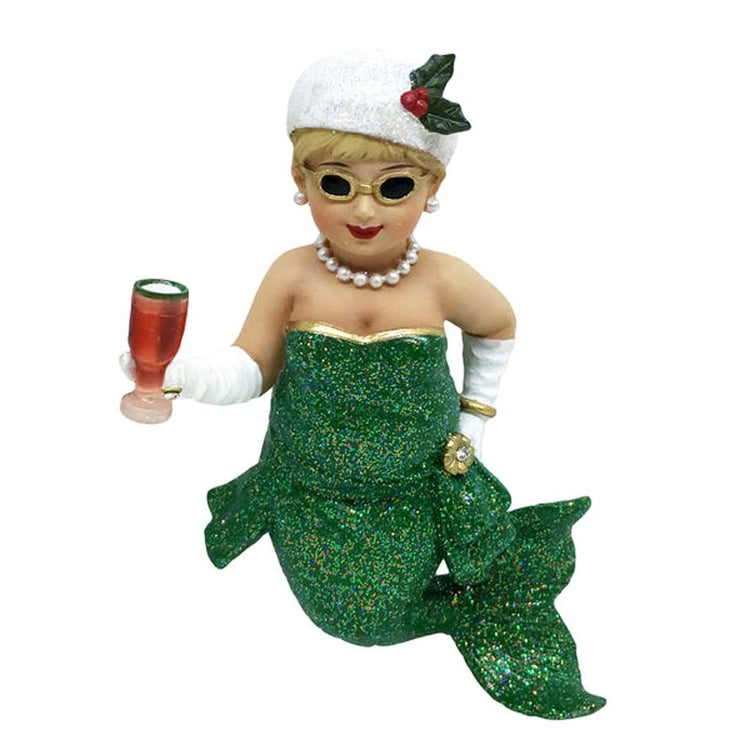 Mermaid figurine ornament.  Christmas outfit in green with white hat adorned with holly. Holding a cocktail and wearing sunglasses.