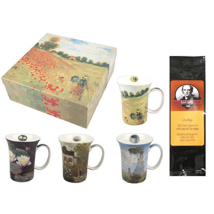 4 mugs and a gift box with a black package of tea. Box shows Monet Poppies, mugs show other Monet artwork.