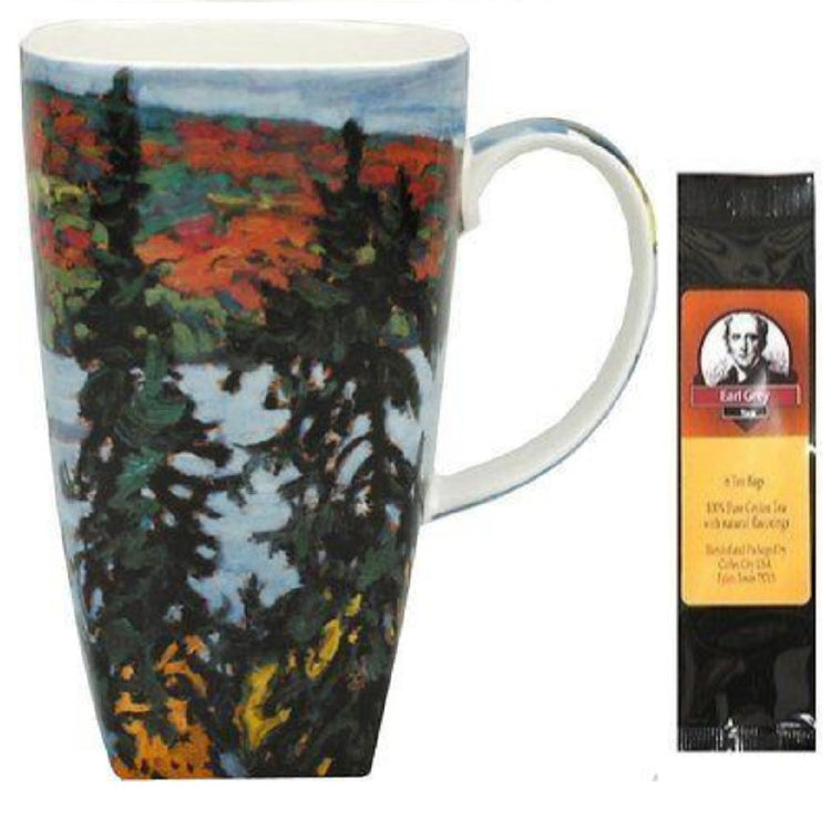 Mug with Lawren Harris' Montreal River painted on it.