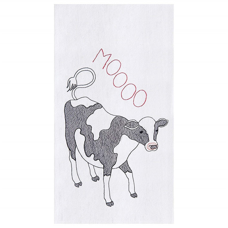 "White flour sack kitchen towel embroidered with a black and white cow ""MOOOO"""