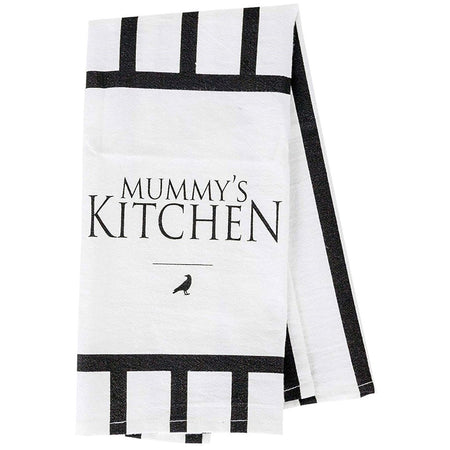 "White kitchen towel with black stripes ""MUMMY'S KITCHEN""."