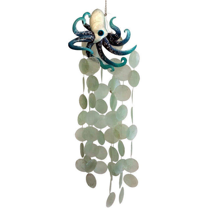 Capiz Shell And Metal Octopus Wind Chime