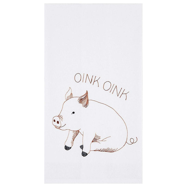 "White towels, text ""Oink Oink"", pig underneath sitting on bottom."