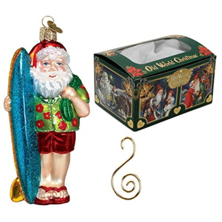 "Beach Santa w/ board ornament on left. Top right green gift box, text ""Old World Christmas"". Lower right is gold S style hook"
